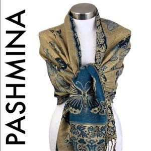 PASHMINA BLUE GOLD BUTTERFLY PRINT SCARF/WRAP